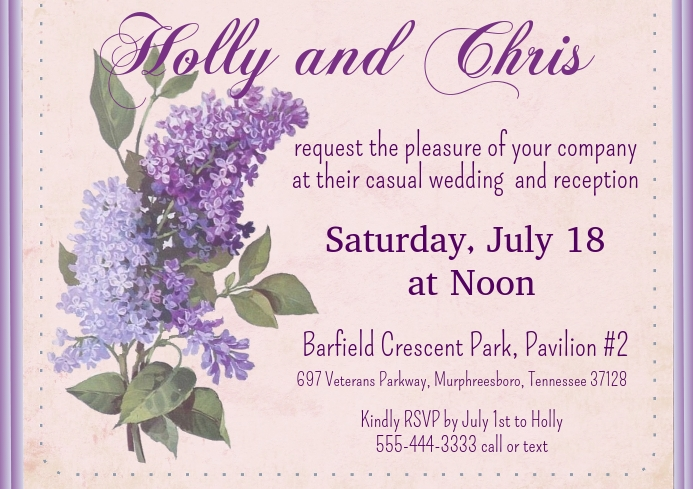 Lilac Wedding Invitation A2 template