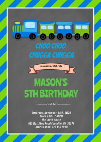 Lime green and train birthday invitation A6 template