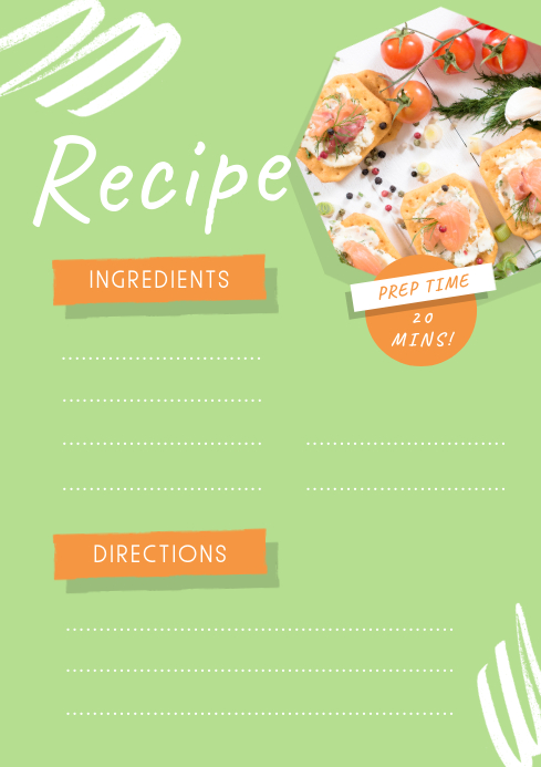 Lime Green Recipe Card A4 template