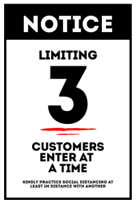 Limiting 3 Customers enter at a time sign Póster template