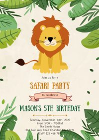 Lion birthday party invitation A6 template