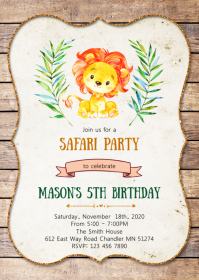 Lion birthday party invitation