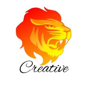 lion fire logo design template free โลโก้