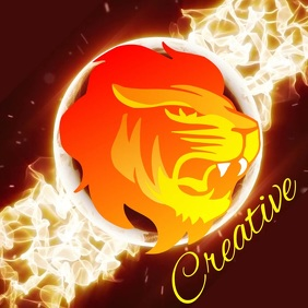 lion fire logo DIGITAL design template free Логотип