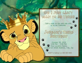 Lion King Kids Birthday Invitation Template 传单(美国信函)