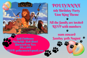 Lion King Party Invitation Poster template