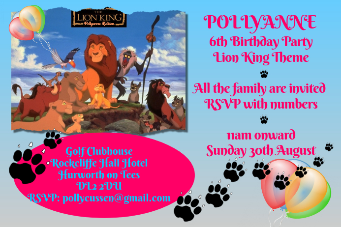 Lion King Party Invitation Template PosterMyWall