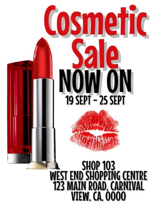 Lipstick / Cosmetic Sale Flyer Template Volante (Carta US)