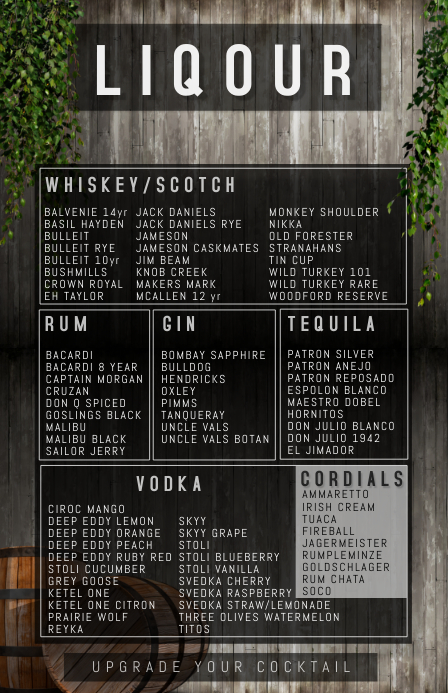 LIQOUR & SPIRITS LIST