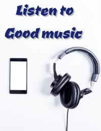 Listen music Flyer (US Letter) template