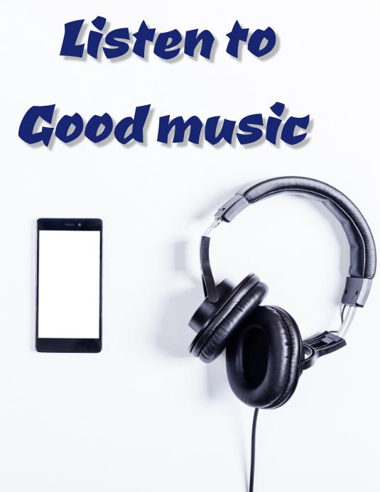 Listen music Folder (US Letter) template