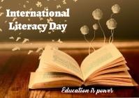 literacy day Postal template