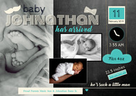 Little Man Birth Announcement A6 template