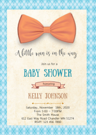 Little man mustache bow invitation A6 template