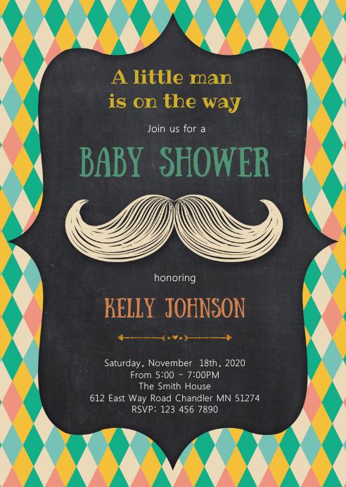 Little man mustache invitation