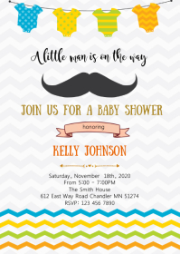 Little man mustache invitation A6 template