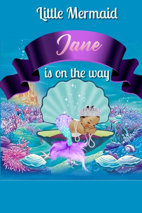 Little Mermaid Banner 4' × 6' template