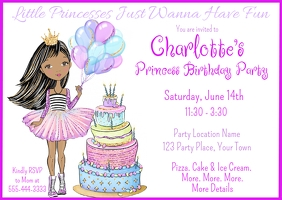 Little Princess Birthday Invitation Postal template
