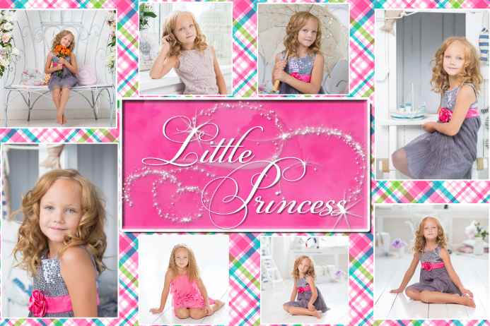 Little Princess Pink Little Girl Photo Collage Poster Flyer