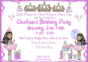 Little Princesses Just Wanna Have Fun Birthda Cartolina template