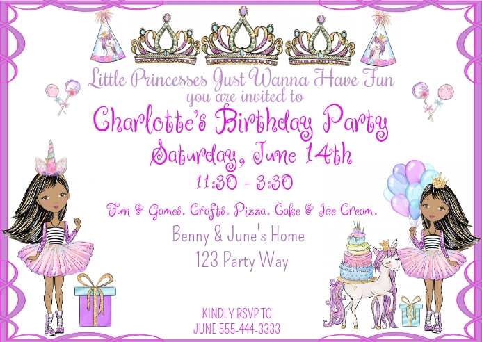 Little Princesses Just Wanna Have Fun Birthda Kartu Pos template