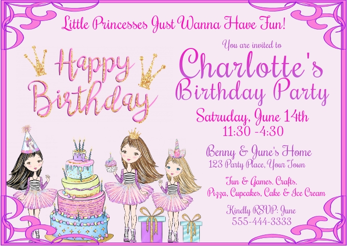 Little Princesses Just Wanna Have Fun Kartu Pos template
