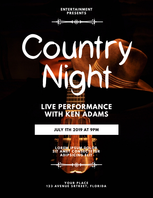Live Country Music Flyer Template