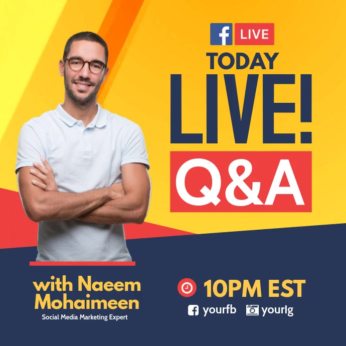 Live Fb Question and Answer Instagram Post template