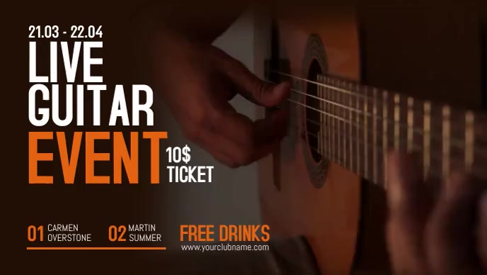 Live Guitar Music Facebook Video Facebook-omslagvideo (16: 9) template