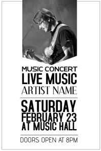 Live music concert black and white template