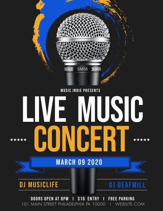 Live music concert ใบปลิว (US Letter) template