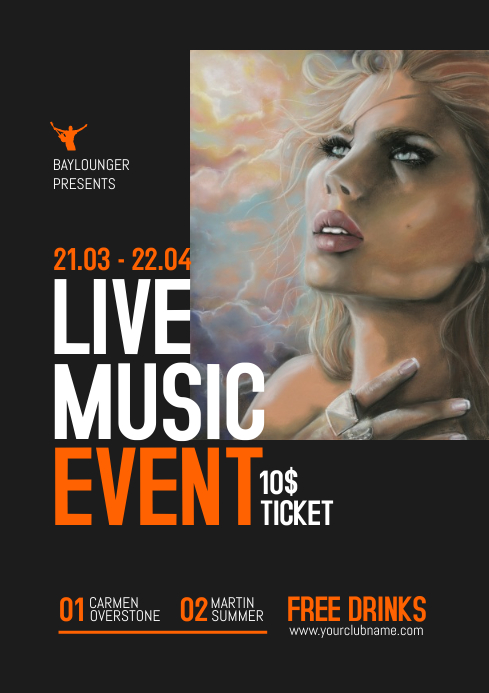 Live Music Flyer / Poster A4 template