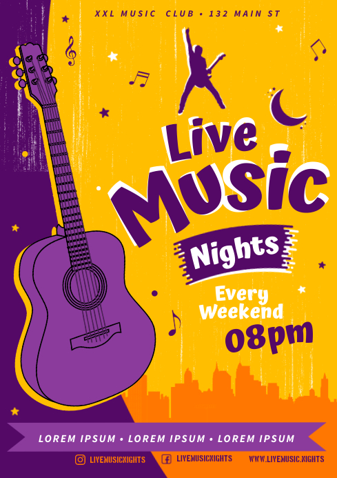 LIVE MUSIC NIGHTS POSTER A4 template