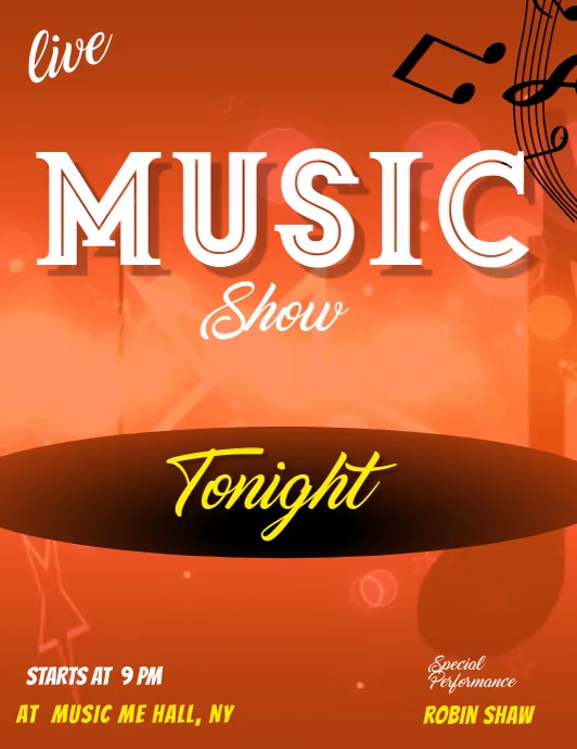 live music show flyer template