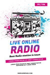 Live online radio station flyer template