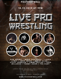 Live pro Wrestling Flyer Design Template