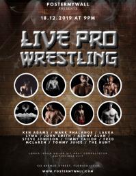 Live pro Wrestling Flyer Design Template ใบปลิว (US Letter)