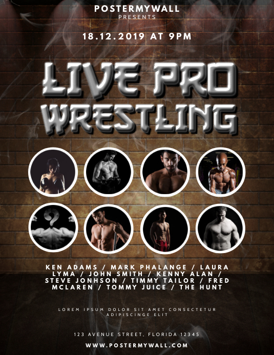 Live pro Wrestling Flyer Design Template 传单(美国信函)