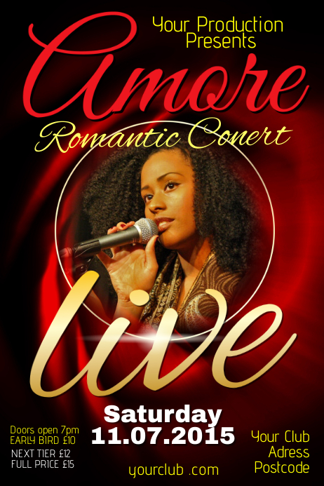 Live Romantic Musical Concert Poster Template