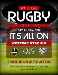 Live Screening Rugby Tournament Poster Template