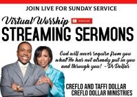 Live stream online church worship service Postal template