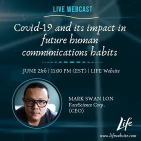 Live Webcast Life Webinar Covid-19 Impact Ad Instagram Post template