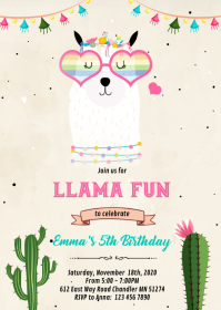 Llama fun birthday Invitation A6 template