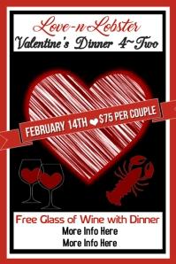 Lobster Valentine Dinner Poster Template