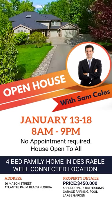 Local Open House Real Estate Ad Tampilan Digital (9:16) template