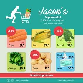 Local SuperMarket Circular Ad Covid-19 relate Message Instagram template