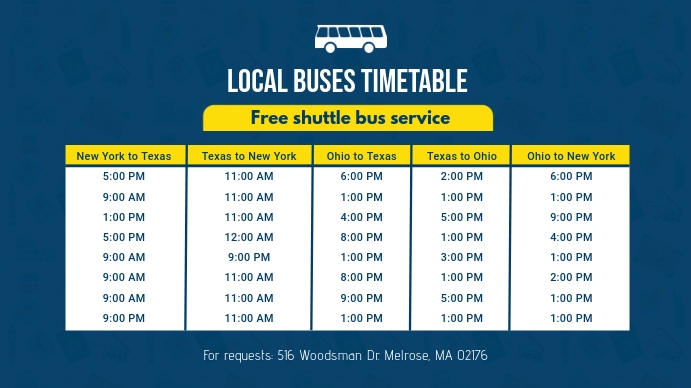 Locale Bus Schedule Banner Template Pantalla Digital (16:9)