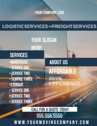 Logistic Freight Moving company flyer design ใบปลิว (US Letter) template