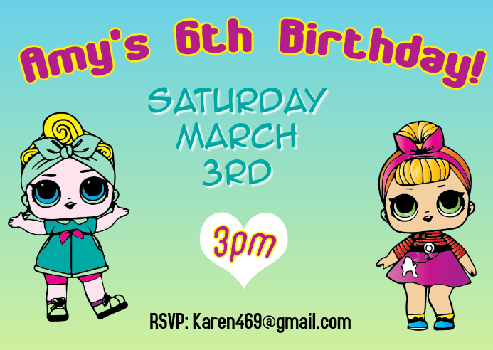 LOL Surprise Birthday Party Invitation