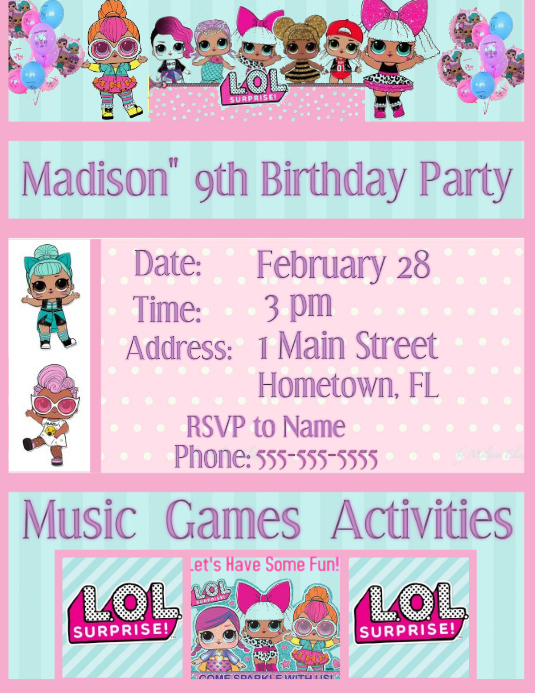 Lol Surprise Invitation Template Postermywall